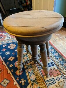 ANTIQUE PIANO ORGAN BENCH STOOL NATURAL WOOD OLD ADJUSTABLE VICTORIAN VTG 18-22""