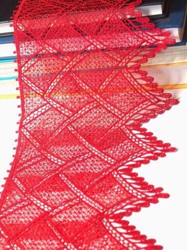 0.5 Meter hochwertige Ätzspitze Borte Spitzenstoff Spitzenborte 7-14cm breit rot