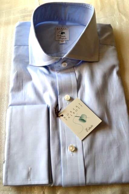 250 NWT ROBERT TALBOTT ESTATE Bespoke 16.5 R eu42 Blau Cotton twill dress shirt