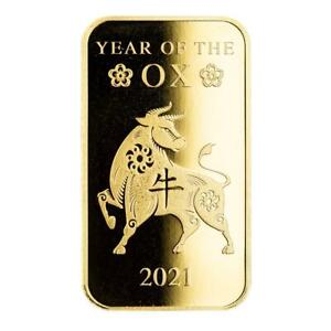 SPECIAL PRICE! 2021 1oz .9999 Gold Bar Lunar Year of the Ox in Certi-LOCK® #A508