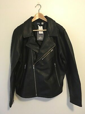 b5975662f Levi's Made & Crafted Moto Black Leather Jacket Size 4/Large Made In Italy  NWT | eBay