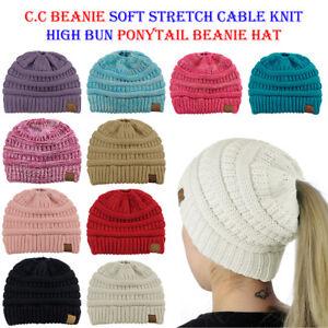 CC Ponytail Beanie Hat Soft Stretch Cable Knit High Bun Ponytail C.C ... 4c677366e6d4