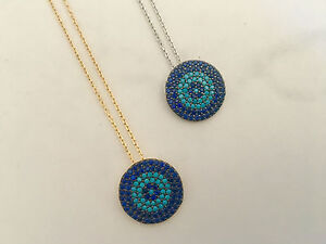 925-Sterling-Silver-18K-Gold-Turquoise-CZ-Zirconia-Evil-Eye-Mati-Nazar-Necklace