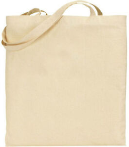 3x Einfarbig Natürlich 100% Baumwolle Groß Einkaufstasche Umweltfreundlich Bag