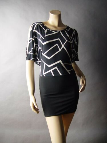 Sale Black White Graphic Stripe Open Cold Shoulder Club Mini 09 mv Dress S M L