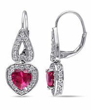 Amour Sterling Silver White Sapphire and Ruby Heart Dangle Earrings