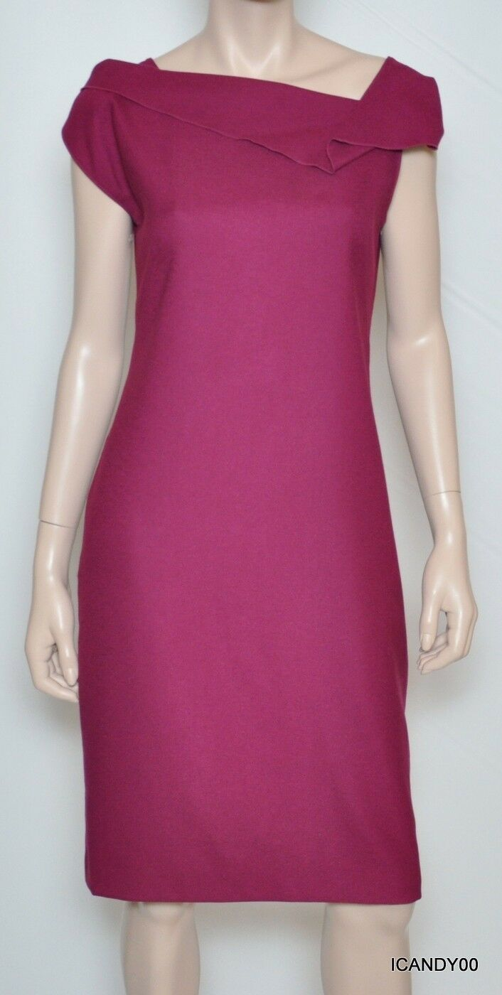 Nwt  Tahari LIZETTE Ruffle Neck Open Back Dress Top Tunic Elderberry 8