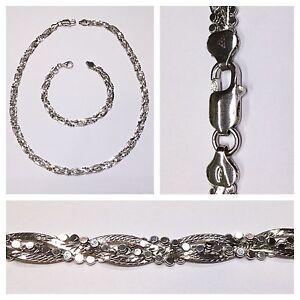 Set-Collier-Armband-925er-Silber-Silberkette-Schmuckset-19-u-45-cm-Rhodiniert