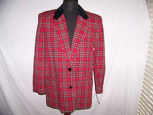 in le nero donne Requisiti scozzese casual velluto Nwt Carriera Blazer Colletto per Sz14 rosso gAqqw05