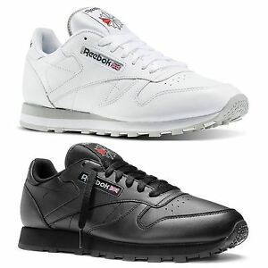 a82006aaab Image is loading REEBOK-CLASSIC-TRAINERS-RETRO-LEATHER-BLACK-WHITE-GREY-