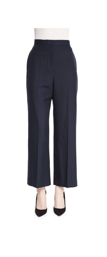 THE ROW Resme Wide-Leg Cropped Silk Canvas Pants, Pitch bluee 6