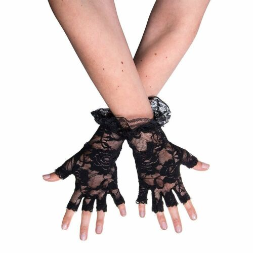 BLACK LACE LADIES MADONNA FINGERLESS GLOVES GOTH WEDDING HALLOWEEN FANCY DRESS