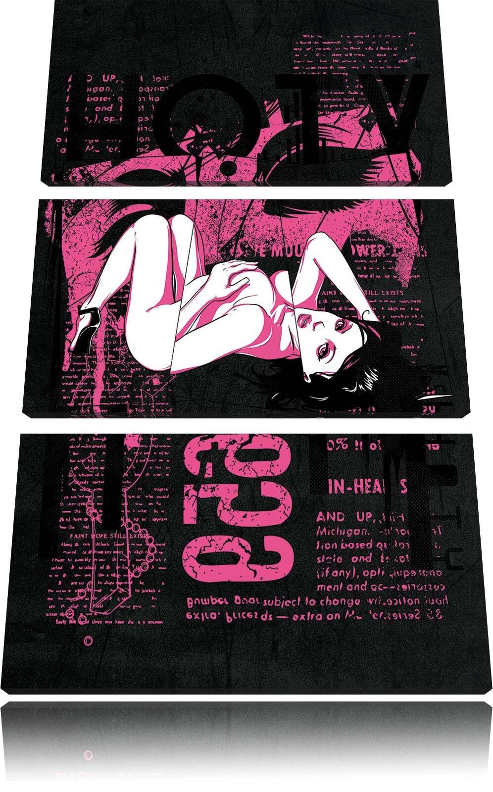 Hot Chica negro en 3-Teiler Foto en negro Lienzo Decoración de Pa rojo  Impresión Artística 33dc1a
