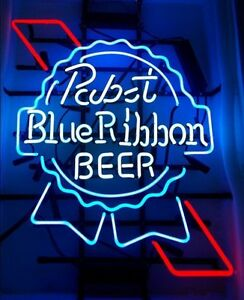 """17""""x14"""" Pabst Blue Ribbon Beer Bar Handcrafted Real Glass Neon Light Sign"""