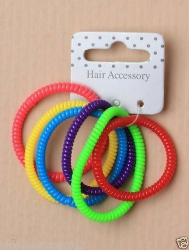 Card of 6 Narrow Bright Coloured Telephone Cord Scrunchies TRUSTED UK SELLER