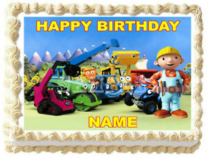 Excellent Bob The Builder Party Edible Cake Topper Image Ebay Funny Birthday Cards Online Elaedamsfinfo