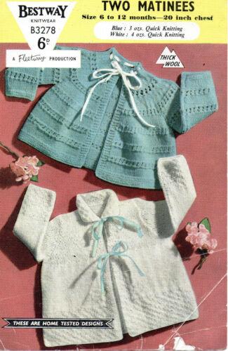Bestway 3278 Vintage Bebé Tejer patrón Cardigans 6-12 meses copia de punto rápido