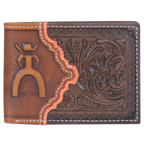 HOOey Western Wallet Men Bifold Signature Tooled Slots Brown