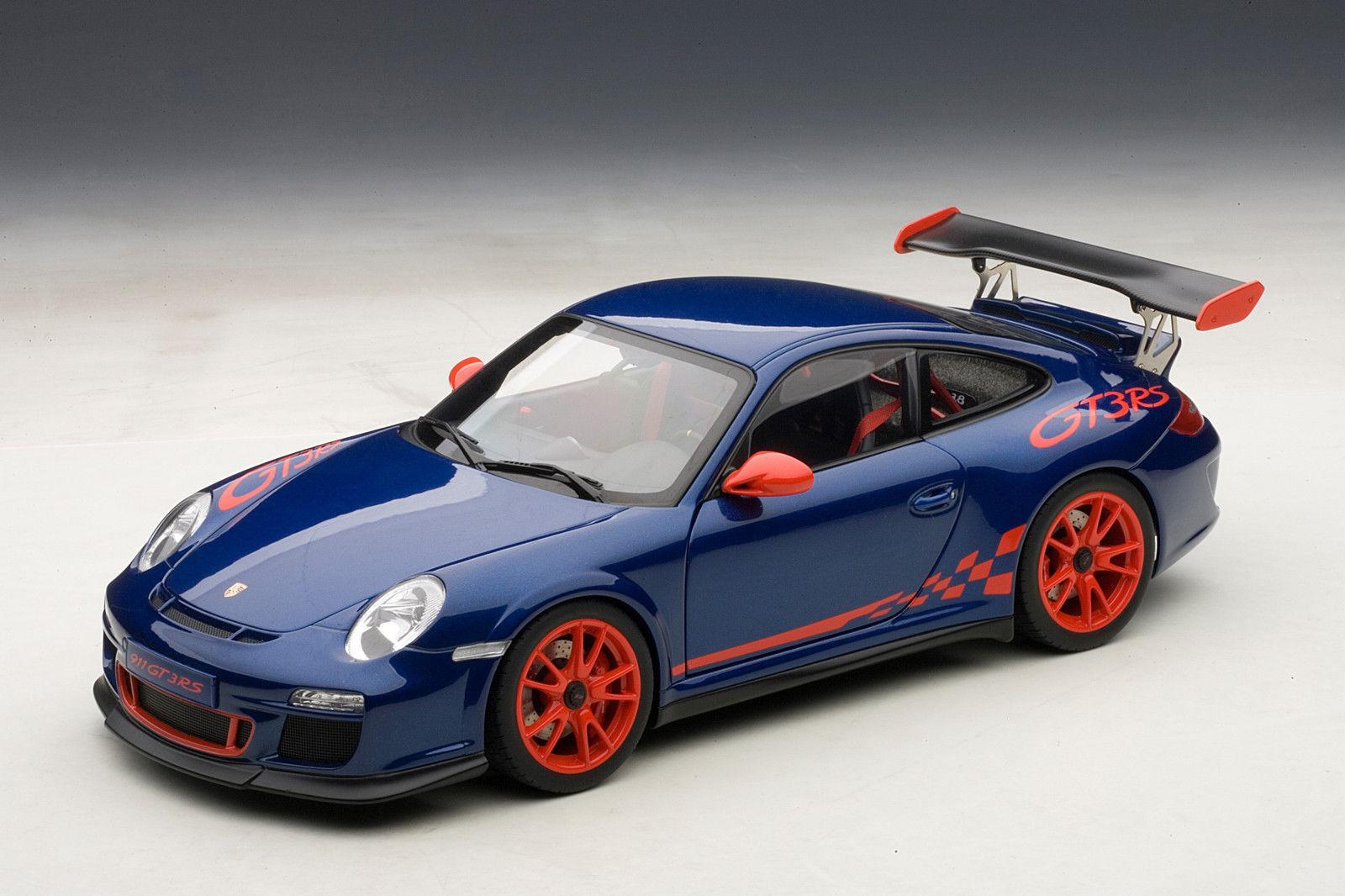1/18 Autoart Porsche 911  997  gt3 RS 3.8  blu/rosso Stripes  2010