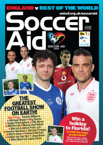 2012 SOCCER AID ENGLAND v REST OF THE WORLD OFFICIAL PROGRAMME