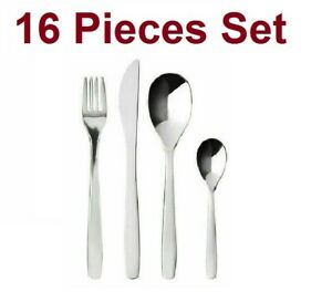 Ikea Pack of 16 Pieces MOPSIG Stainless Steel Cutlery Set Food Dining Set New