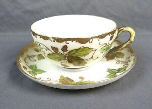 Antique-Hand-Painted-TN-Nippon-Oak-Leaf-Acorn-Tea-Cup-amp-Saucer