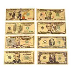 New 7PCS Gold Dollar Bill Full Set Gold Banknote Colorful USD 1//2//5//10//20//50//100
