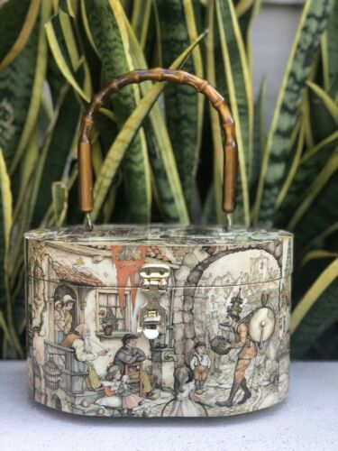 Vtg Wood Purse Street Scene Handbag Oval Bag 60s 7