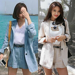 a643725f694 2017 Summer Women Business Casual Loose Cotton Linen Jacket Blazer ...