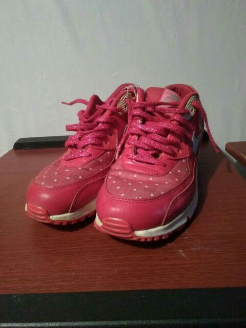 NIKE Girls KIDS AIR MAX 90 PRINT DARK RED pink silver GS 704953 602 SZ 7y w8.5