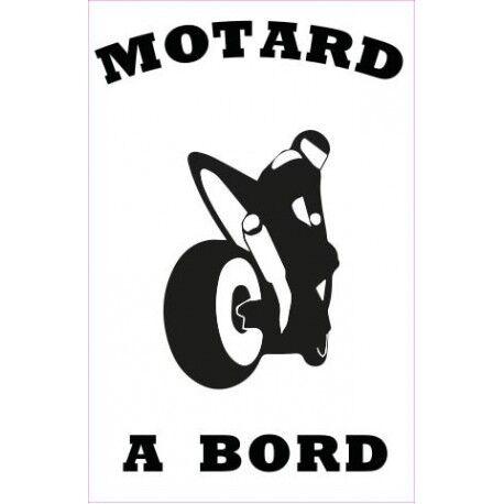 Autocollant Motard à Bord moto sticker Taille:17 cm couleur : blanc