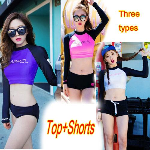 Women Rash Guard Long Sleeve Crop Top Shorts Surfing Suit Swimwear