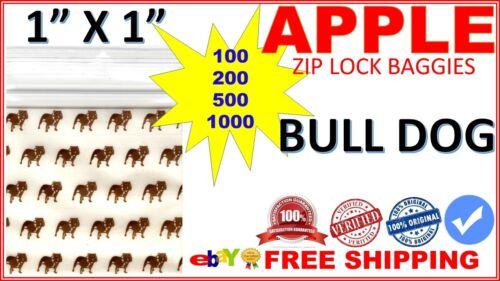 """1010- TOP DOG 1/"""" x 1/"""" Apple Zip lock baggies mini ziplock bags PRINTED DESIGN"""