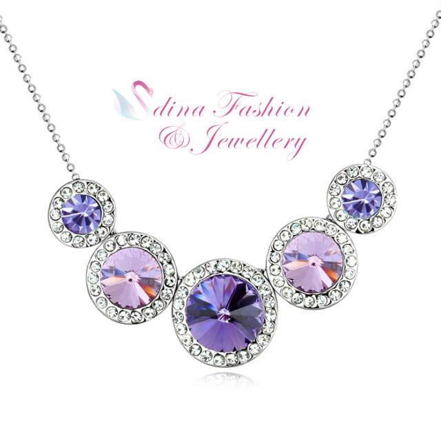 18K White Gold GP Made With Swarovski Crystal Five Round Purple Strand Necklace