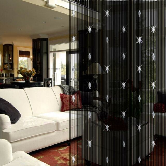 Decorative Luxury Black String Curtain 3 Beads Door Window Panel Room Divider