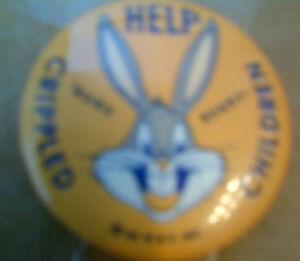 "Repr BUGS BUNNY 1 1//4/""  Help Crippled Children Pinback"