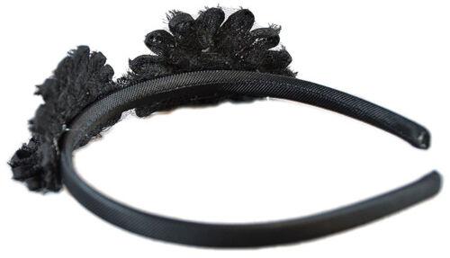 Black FLOWER Blumen Pearls HEADPIECE Haarreif Haarschmuck Rockabilly Schwarz