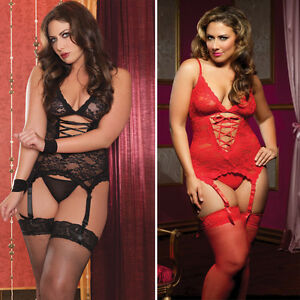 41d8933700 Details about Ladies Lace Plus Size Lingerie Sexy Underwear Babydoll Dress  Suspender Sleepwear