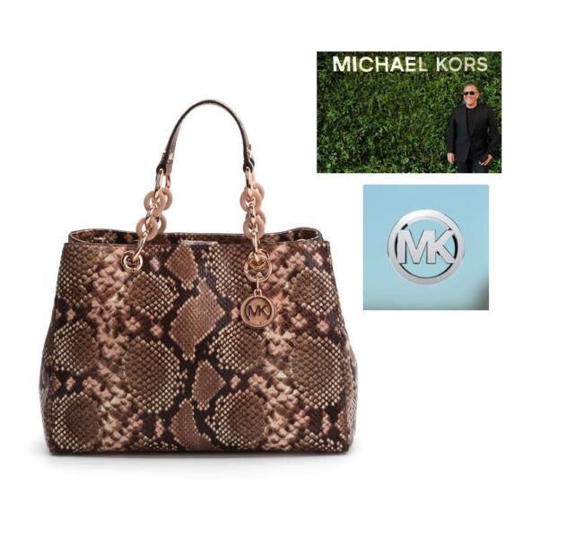 Michael Kors Medium Cynthia Satchel Tote Bag In Embossed Blossom Python Nwt