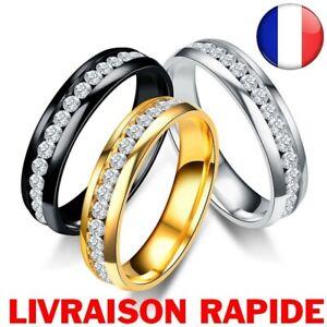 Bague-Anneau-Homme-Titane-Acier-inoxydable-Pierre-Strass-Femme-Couple-Bijoux