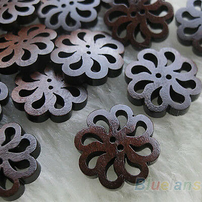 Fantastic 40Pcs Stunning Flower Nice Wood Buttons 20Mm Sewing Craft Helpful New