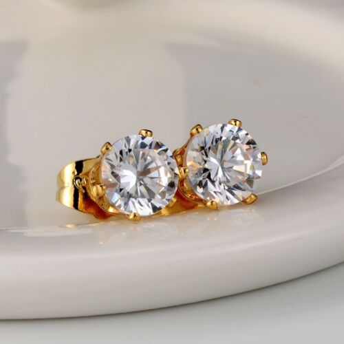 Clous d/'oreilles 18k or jaune rempli Fashion Ear Stud 8 mm Gold Filled Wedding Jewelry