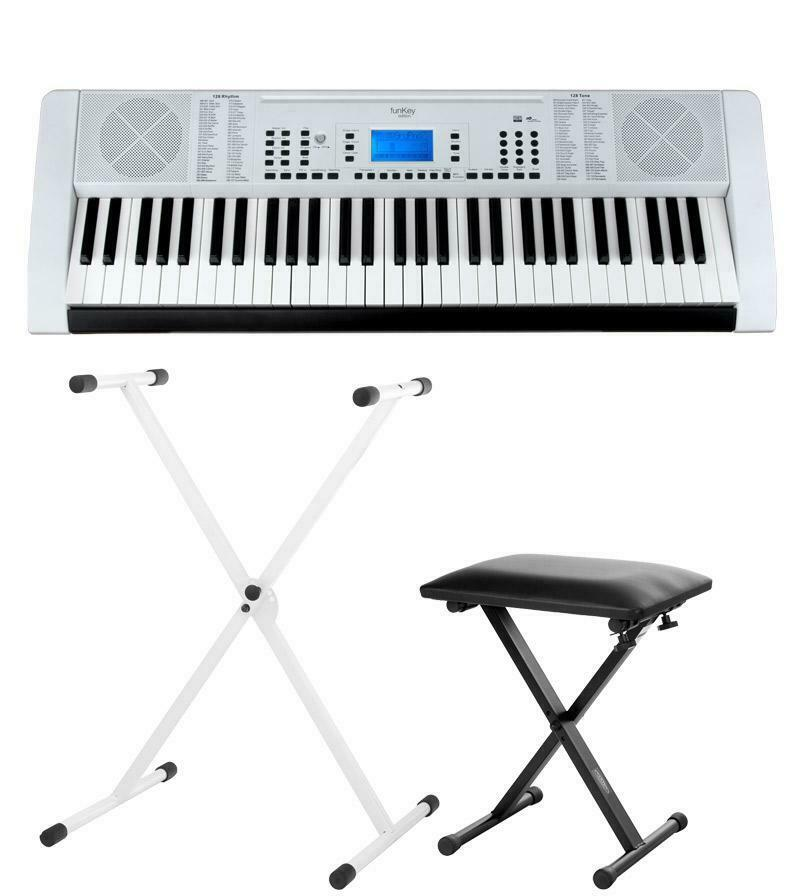 FUNKEY 61 EDITION PRO WEISS KEYBOARD LED 128 SOUNDS SOUNDS SOUNDS & RHYTHMEN STATIV HOCKER SET 44aa2c