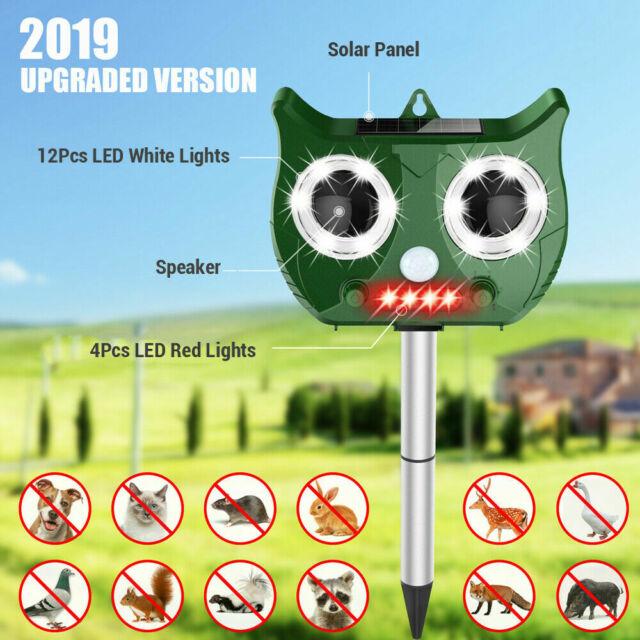 1//2PCS Solar Power Ultrasonic PIR Pest Animal Repeller Garden Cat Scarer Control