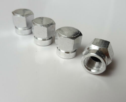 Silver BOLT Hex Alloy Metal Dust Valve Caps for Chrysler PT Cruiser Crossfire