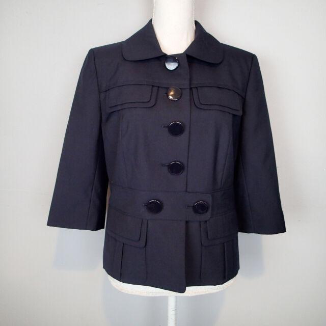Ann Taylor Women's Navy  Career Blazer Size 10 jacket blazer 3/4 sleeve