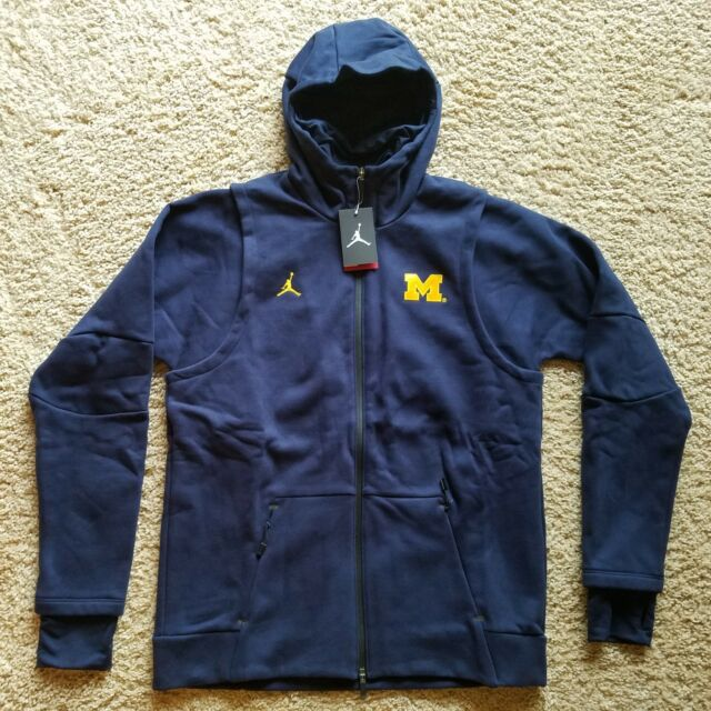 Michigan Jordan Gear >> Michigan Wolverines Jordan 465 Icon Fleece Jacket Full Zip Hooded Navy Blue