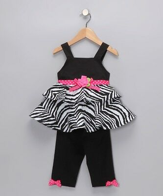 "NEW /""ZEBRA HEARTS/"" Tunic Capri Pants Girls 5 Spring Summer Clothes Boutique Kid"