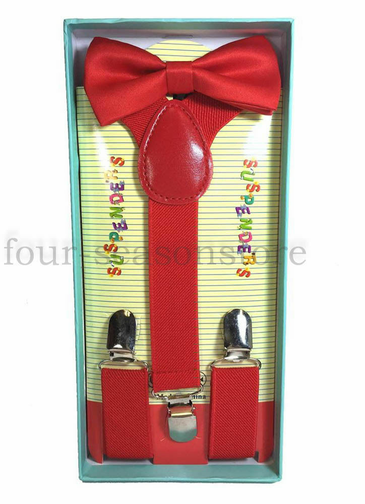 Kids Toddler RED BOXED GIFT Set SUSPENDERS And BOWTIE Matching
