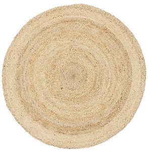 RUG-ROUND-NATURAL-Circle-Sand-colour-Jute-Floor-mat-Carpet-Organic-FREE-POST